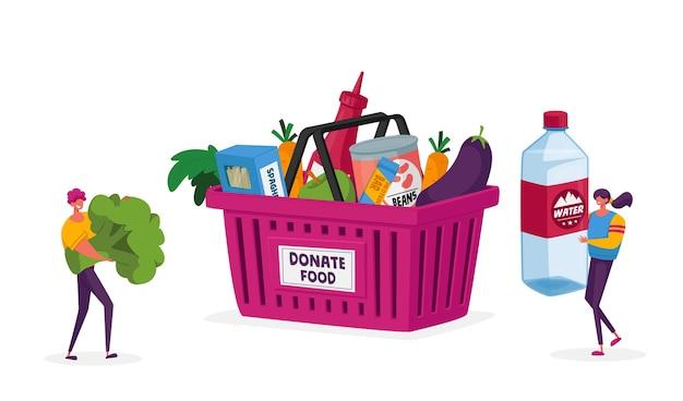 Pequenos personagens carregam enormes garrafas de água e brócolis para coletar a caixa de doações