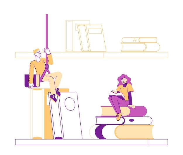 Pequenos personagens de alunos na enorme estante de livros aprendendo dever de casa