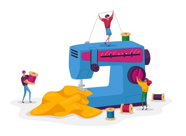 Pequenos personagens de esgoto no processo de criação de roupas