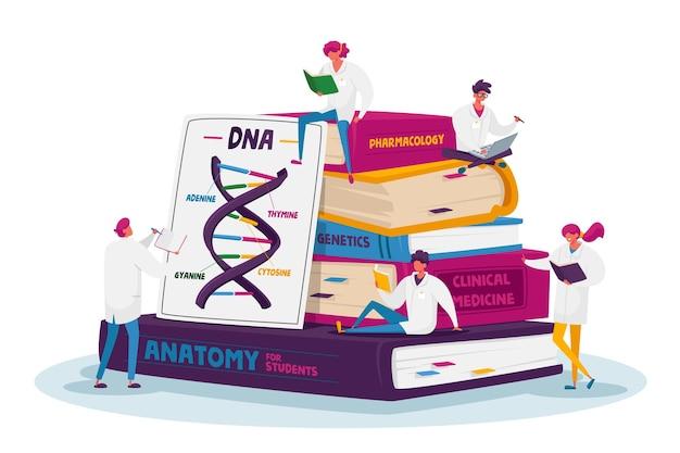 Pequenos personagens de estagiários de medicina em vestes brancas estudando em uma pilha enorme de livros