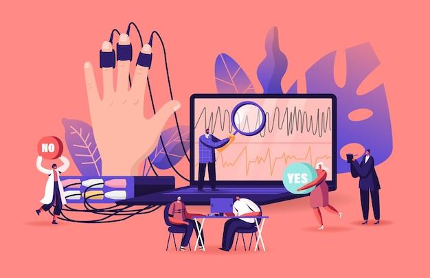 Pequenos personagens em enorme computador mostram medidas fisiológicas de pessoa submetida ao detector de mentiras, teste do polígrafo.