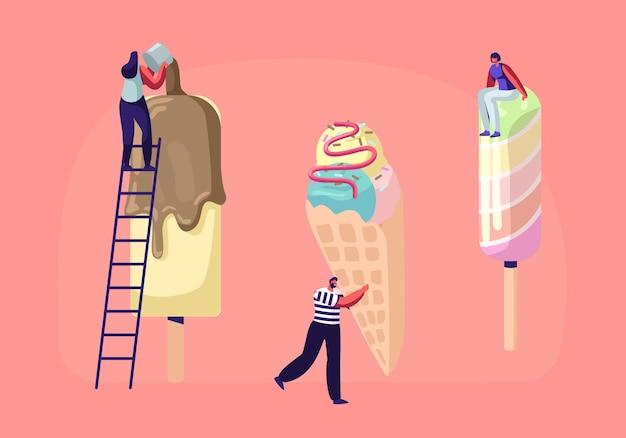 Pequenos personagens em escadas decoram sorvete com cobertura e chocolate.