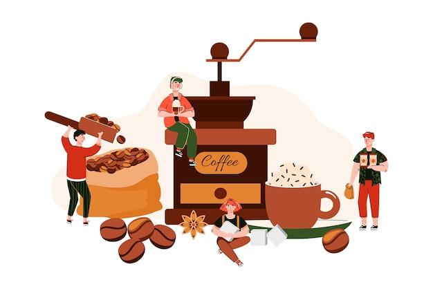Pequenos personagens em miniatura de trabalhadores em uma cafeteria recolhendo grãos e torrando para fazer café