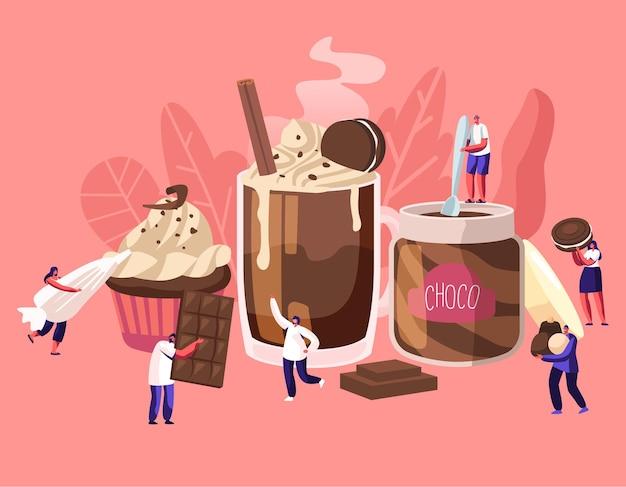 Pequenos personagens entre enormes pratos de sobremesa de chocolate. ilustração plana dos desenhos animados