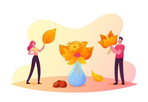 Pequenos personagens masculinos e femininos coletando buquê de outono e colocando folhas coloridas caídas