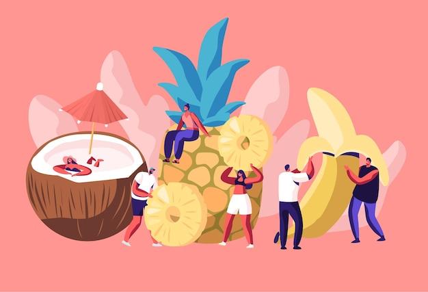 Pequenos personagens masculinos e femininos e enormes frutas maduras coco, abacaxi e banana