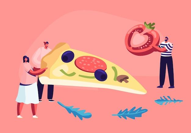 Pequenos personagens masculinos e femininos segurando um enorme pedaço de pizza