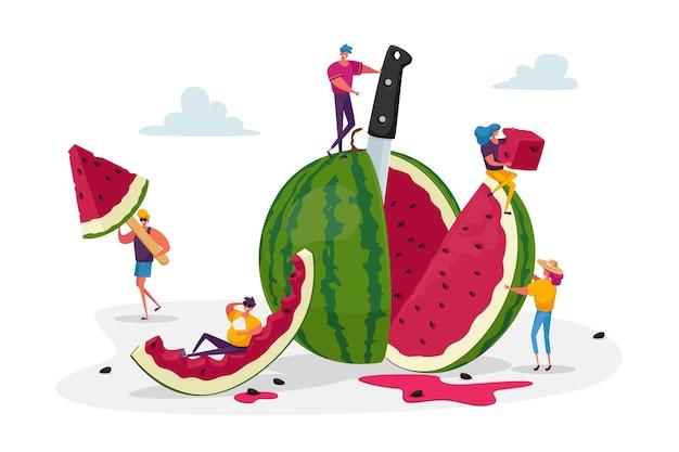 Pequenos personagens relaxando e se divertindo com a refrescante melancia enorme e madura
