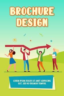 Pequenos personagens segurando uma enorme flecha juntos. growth, coworking, help flat vector illustration