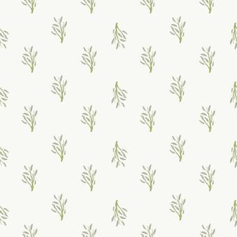 Pequenos ramos de folhagem sem costura padrão isolado. mão desenhada ornamento floral sobre fundo branco. impressão plana de vetor para têxteis, tecidos, papel de embrulho, papéis de parede. ilustração sem fim.