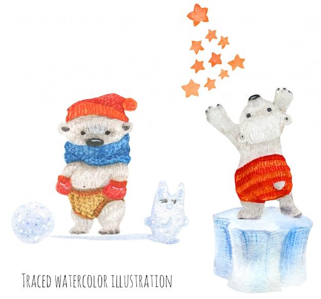 Pequenos ursos polares no inverno divertido