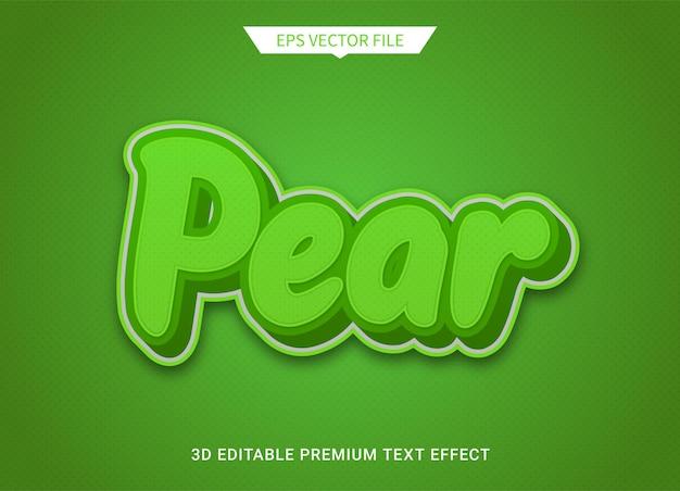 Pêra 3d, estilo de texto editável, efeito, vetor premium
