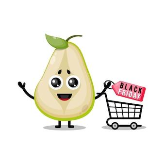 Pêra. compras de frutas pretas, mascote fofa de sexta-feira