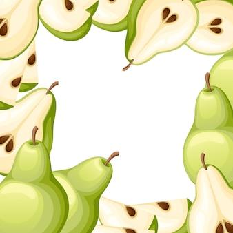 Pêra e fatias de peras. ilustração de peras. ilustração para cartaz decorativo, produto natural emblema, mercado dos fazendeiros. página do site e aplicativo para celular