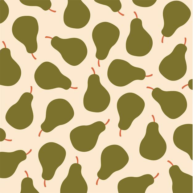 Pêra padrão de fundo mídia social postar ilustração vetorial de frutas