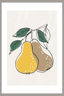 Peras em um galho com folhas