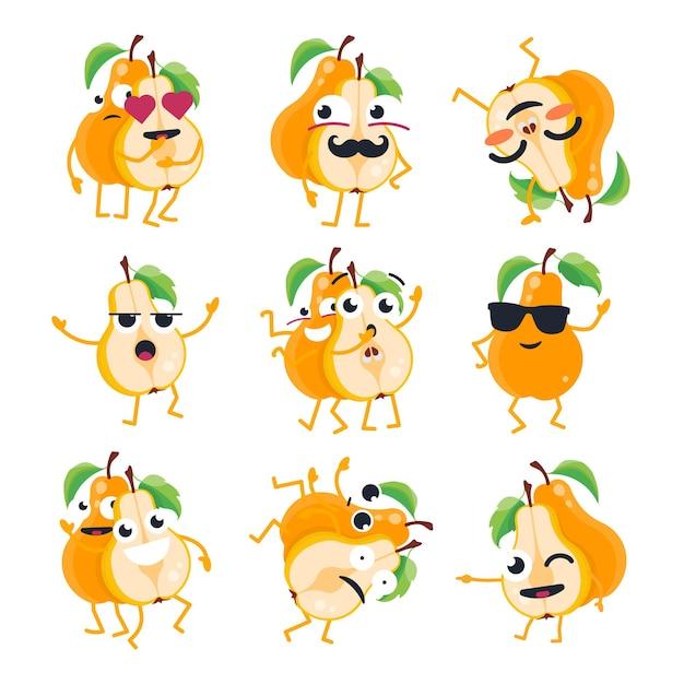 Peras engraçadas - emoticons de desenhos animados isolados de vetor. emoji fofo com um personagem legal. uma coleção de uma fruta zangada, surpresa, feliz, confusa, louca, rindo e triste em fundo branco