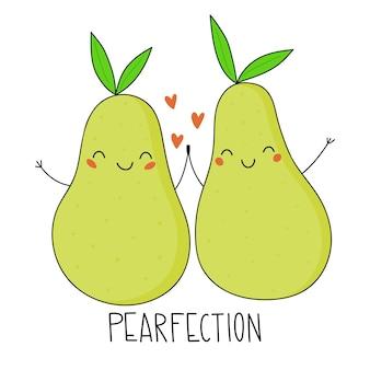 Peras fofas pearfection ilustração vetorial cartão de dia dos namorados