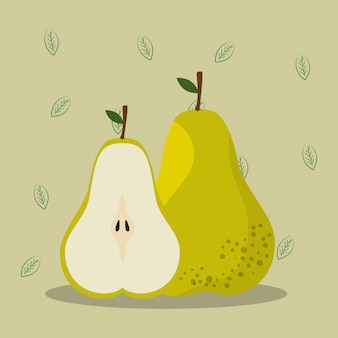 Peras frescas alimentos saudáveis