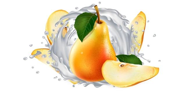 Peras frescas e um respingo de iogurte ou leite em um fundo branco. ilustração realista.