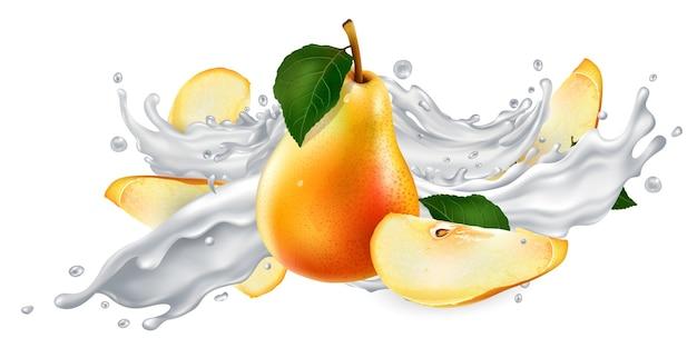 Peras frescas em um pouco de leite ou iogurte em um fundo branco.