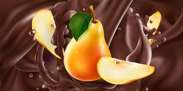 Peras inteiras e fatiadas em chocolate líquido.