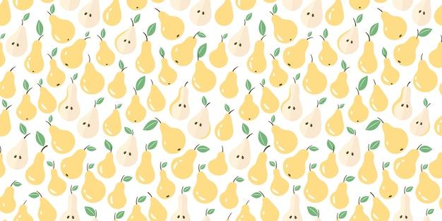 Peras. padrão sem emenda de frutas de peras com folhagem verde. ilustração em um fundo branco.