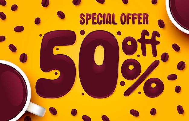 Percentual de desconto desconto composição criativa café oferta especial banner de venda e vetor de cartaz