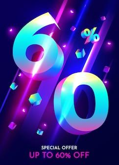 Percentual de desconto em composição criativa mega venda banner neon