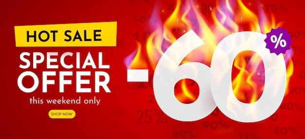 Percentual de desconto no banner de venda com cartaz de desconto de números em chamas