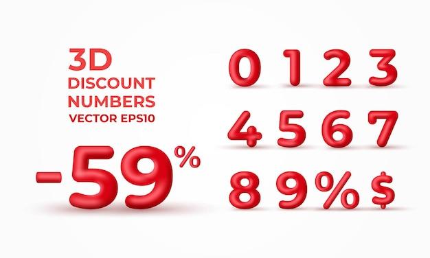 Percentual de números de desconto 3d vermelho e ilustração em dólares