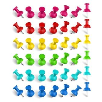 Percevejo colorido e percevejo. pino de marca de localização de cores, conjunto de pinos realistas. artigos de papelaria. papelada plástica e acessórios de costura. alfinete de alfinete para ilustração de notas de escritório