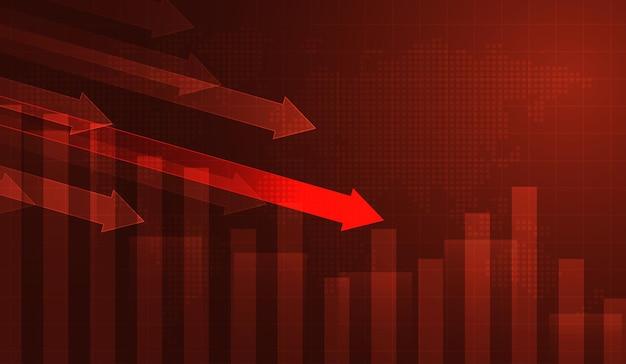 Perda da bolsa de valores tela vermelha símbolo da recessão, queda dos preços, falha gráfico da barra de velas de ações