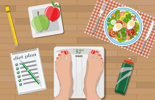 Perda de peso, dieta, estilo de vida saudável.