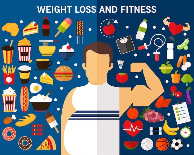 Perda de peso e fitness conceito fundo. ícones planas.