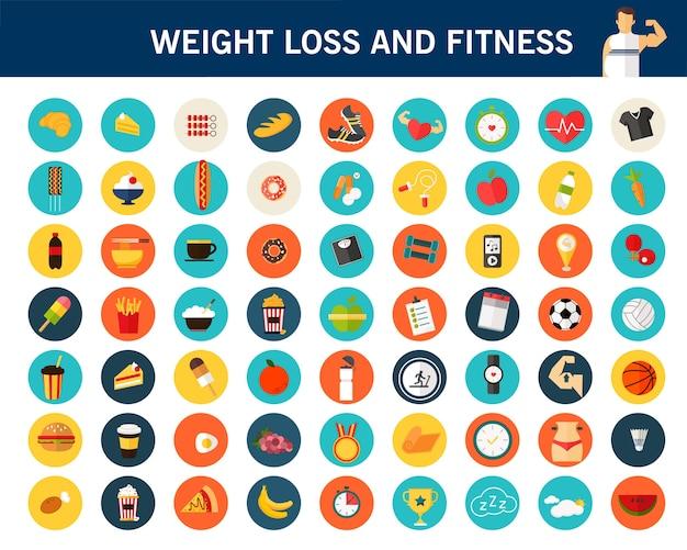 Perda de peso e ícones plana de conceito de aptidão.