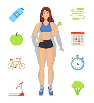 Perda de peso e ilustração de dieta de esporte