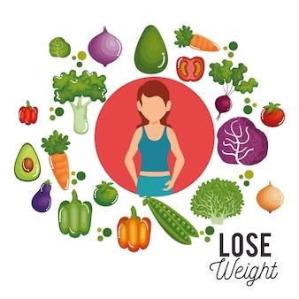 Perder peso conceito ícones vector illustration design