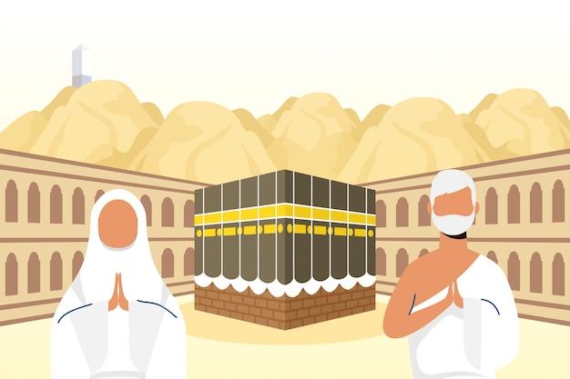 Peregrinação do hajj com casal na cena de kaaba