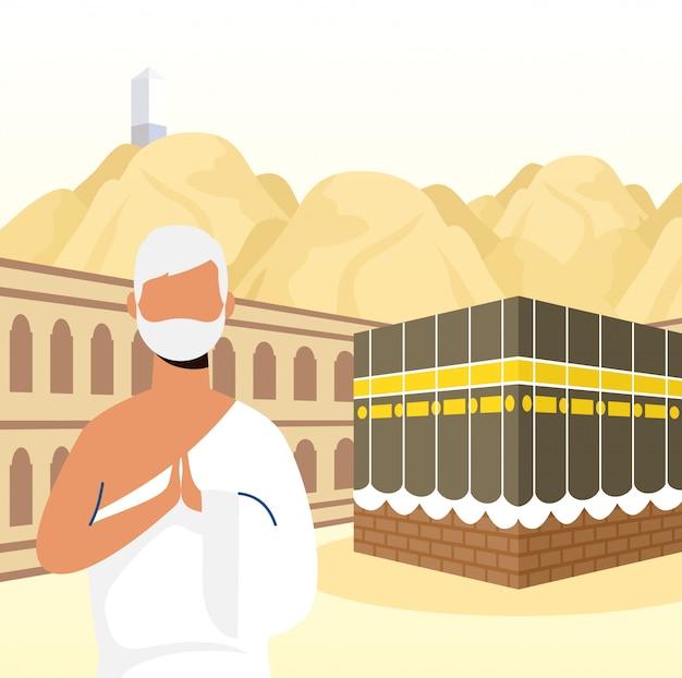 Peregrinação do hajj com o homem na cena de kaaba