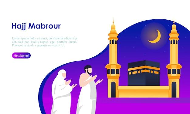Peregrinação do hajj e umrah orando perto do modelo kaaba
