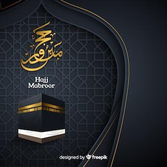 Peregrinação islâmica com texto em fundo preto