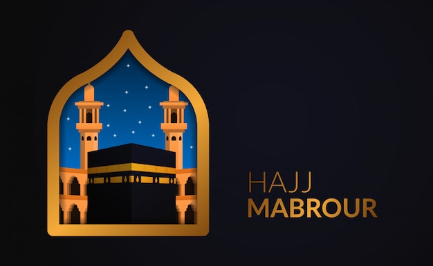 Peregrinação islâmica do evento do hajj mabrour a meca, arábia saudita. edifício kaaba. eid al adha mubarak.