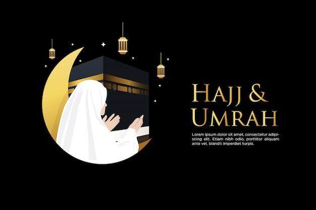 Peregrinação islâmica hajj e umrah orando fundo