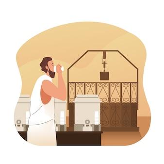 Peregrino do hajj bebe água zamzam. ilustração de personagem plana dos desenhos animados hajj e umrah