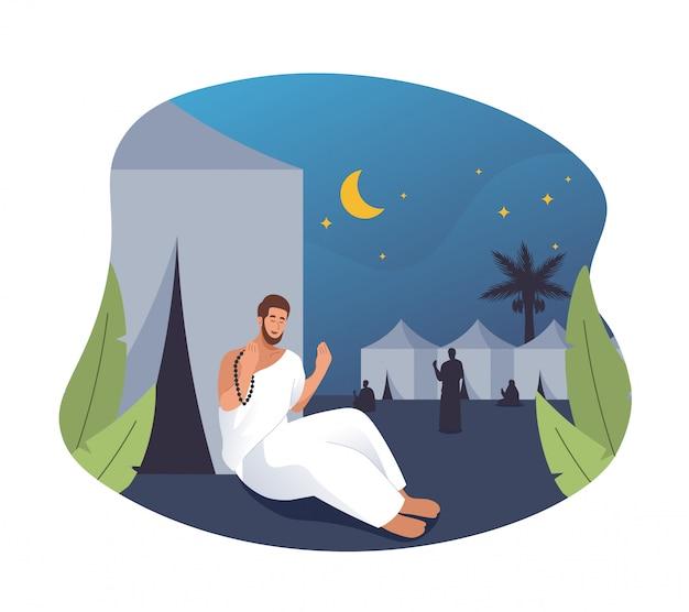 Peregrinos do hajj orando e descansando em mina. ilustração de personagem plana dos desenhos animados de peregrinação do hajj