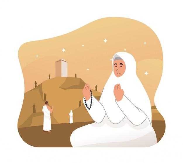 Peregrinos do hajj rezando no monte arafat