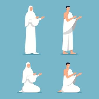 Peregrinos do islã orando na posição de pé e sentado
