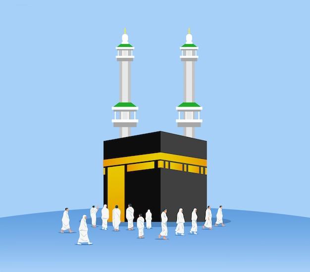 Peregrinos muçulmanos em torno de kaaba