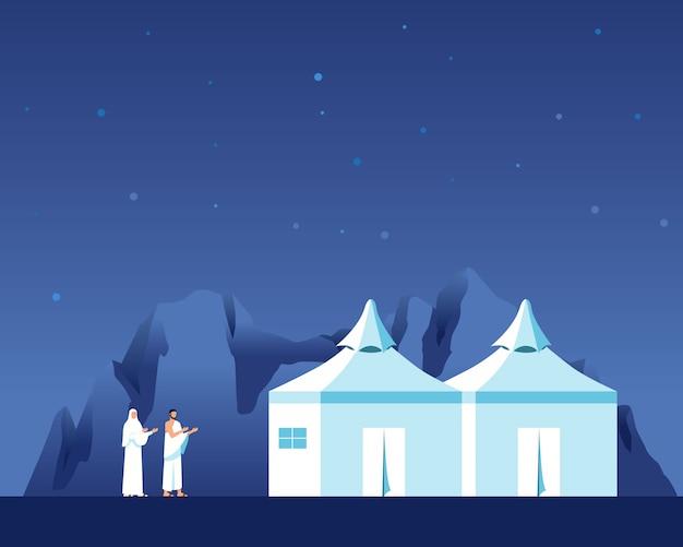 Peregrinos passam a noite no vale de mina